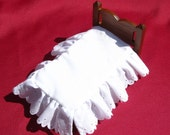 Dollhouse Bedskirt Miniature Bed Ruffle White Dollhouse Bed Skirt Mini Single Bed Dust Ruffle 12th Scale Bed Ruffle Small Doll Beddig