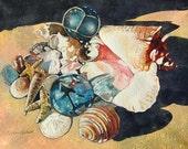 Watercolor ORIGINAL - Seashells on the Seashore - shells, seashells, sea glass, glass float, beach, sand, conch, souvenirs