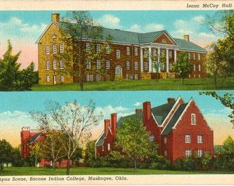 Linen Postcard, Muskogee, Oklahoma, Bacone Indian College, Campus Scene