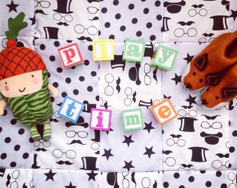 Baby Playmat, Patchwork Monochrome Tophat and Moustaches