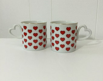 60's Heart Mug Set of 2 Coffee Cup Heart Shaped Handle Made In Japan Ceramic Cup