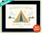 Loves to Camp Decor Adventure is Waiting Wedding Gift Outdoor Lovers Unique Couples Gift Framed Art Print Rustic Wedding Hiking Wilderness