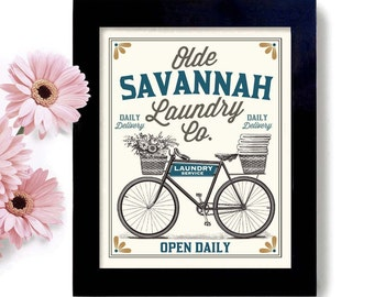 Personalized Laundry Sign City Name Home Town Old Bicycle Laundry Room Decor Vintage Bicycle Art Linens and Sheets Washing Machine