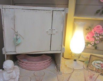 Vintage Hand Made Cream Cabinet Farmhouse Prairie Primitive Chic Shabby Cottage