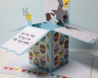Cupcake pop up birthday box card