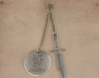 Keep Calm And Kill Zombies Survival Knife Keychain Keyring For The Walking Dead Zombie Apocalypse - Men's Unisex Zombie Hunter Accessories