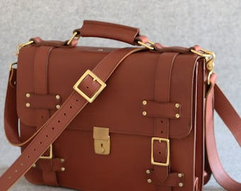 Belted Leather Briefcase  - Personalized Leather Briefcase, Leather Messenger Bag, Leather Satchel