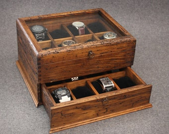 Personalized Rustic Men's Watch Box for 16 watches with drawer and glass top