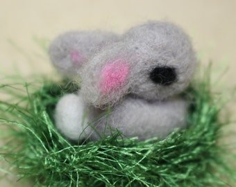 Tiny Needle Felted Easter Bunny, With Grass Green Nest, Waldorf Inspired, Handmade, Felted Animals, Felt Bunny