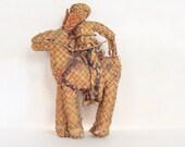 Vintage Wicker Straw Man on Horse Sombrero Caballero Donkey Mexican Folk Art Straw Figurine