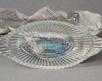 Vintage Anchor Hocking Hobnail Oval Relish Dish Candy Dish Nut Dish Tableware Holiday Cut Glass Indiana Glass