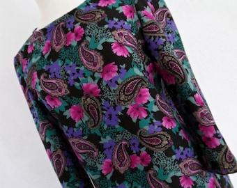 SALE:))) MIDNIGHT PAISLEY . S . Wool Jewel Colors Psychedelic Print Mini Mod Dress 60s