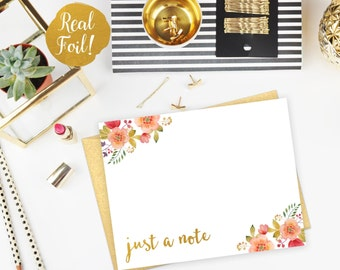 Real Gold Foil Watercolor Flowers - Just a Note - Flat Note Card with Matching Gold Envelopes - Real Foil Stationery - Set of 6