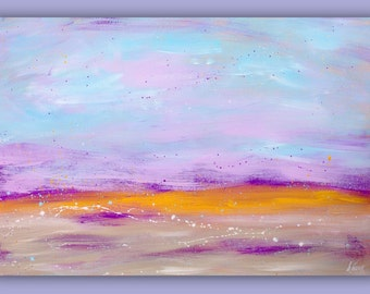 """Purple  Painting Original paintings Acrylic Abstract Artwork Fine Art Painting by Heroux, Canvas, Original 36""""x24"""" Title: SOFT VIOLET WIND"""