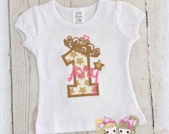 Girls princess 1st birthday shirt - gold stars birthday shirt - first birthday star themed princess shirt - princess wand - princess crown