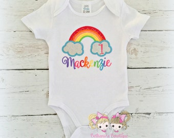 Rainbow Birthday Shirt- Clouds- Monogrammed Birthday Shirt