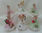 Josef Originals Christmas Girls and Angels Set/6 -- Pink, White and Green Dresses -- Collectible Figurines -- Christmas Figurines