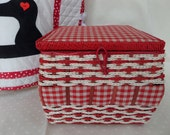 Vintage Sewing Basket -- Red and White Gingham