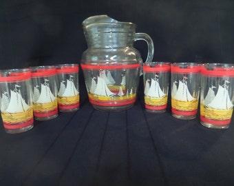 Vintage Sailboat Beverage 7 Piece Set -- Pitcher and 6 Glasses -- 1940's -- Sailboat Pitcher -- Sailboat Glasses