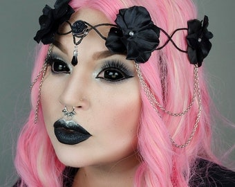 Black goth elven crown - halloween headpiece