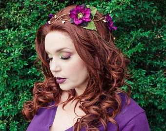 Purple and green flower crown - bridal headpiece