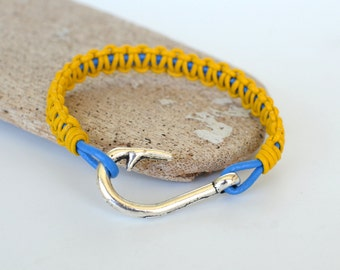 Fish Hook and Leather Bracelet, Blue and Yellow Leather Shamballa Friendship Bracelet, Survival Style, Other Colors Available, Gift Boxed