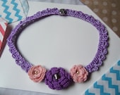 Lilac Crochet Necklace/Collar. Handmade Necklace With Crochet Flowers.