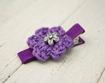 Plum Purple  Crochet Flower Alligator Hair Clip