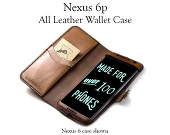 Nexus 6P Leather Phone Wallet Case - No Plastic - Free Inscription