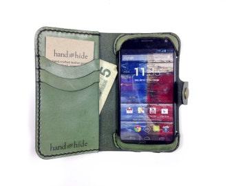 Moto X (Original 2013 version) Leather Wallet Case - No Plastic - Clearance Sale / Scratch and Dent