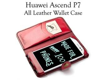 Huawei Ascend P7 Leather Wallet Case - No Plastic - Free Inscription