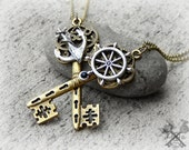 Love Set Sail / Couples Necklace Set / Best Friends Necklace / Gifts for Couples / Couple Necklaces / Key to my Heart Necklace / Ship Wheel