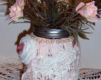 Altered Mason Jar, Lace Covered Jar, Wedding, Romantic, Mothers Day Gift, Pink Lace Vase, Shabby Chic Vase