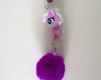 Littlest Pet Shop Purple Pony Horse with Beads and Pom Pom Keychain Bag Purse Charm LPS Kawaii Cute Girl Teen Ooak Gift Toy Animal
