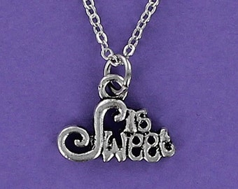 SWEET 16  - Pewter Charm on a FREE Plated Chain Birthday Sixteen