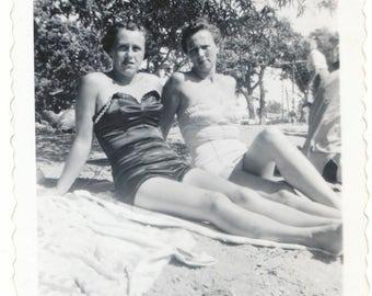 Babes on the Beach social realism found photo fine art vernacular photography modern retro Beach Life snapshot original old photo ephemera