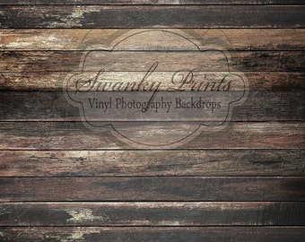LARGE 8ft x 10ft Dark Grungy Wood / vinyl photography backdrop PERFECT for Newborns and Children