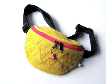 fanny pack/hip bag - yellow/banana and pink (medium size)