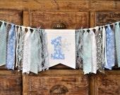 Blue & silver Winter ONEderland Wonderland first 1st birthday fabric highchair rag banner, high chair party decor ONE 1 cake smash photo