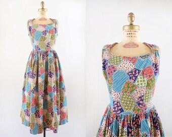 Vintage 1950s Aerial Gardens Dress / 50s corduroy patchwork ful skirt dress / Medium M