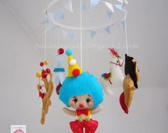 Circus hanging baby mobile