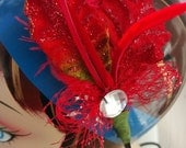 Red fancy fascinator Christmas fascinator red ostrich feather cruelty free and red rooster feathers with rhinestone accent