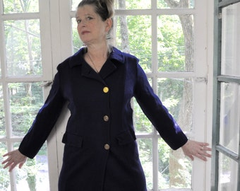 Vintage Dark Blue Tailored Knit Coat/Vintage 1960s/Tailored Wool Jacket Coat/Italian Knit Coat/Blue Sweater Coat/Fall Coat/Size Small