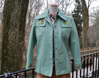 Mint Green Naugahyde Women's Jacket/Vintage 1970s/Retro Embroidered Vinyl Faux Leather Dynamide Jacket/Size Small