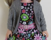Double Ruffled Floral Print Dress and Gray Cardigan for 14.5 Inch Dolls  Outfit fits Wellie Wishers™