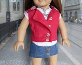 18 Inch Doll Clothes: Red Moto Vest/wHood, Denim Skirt, Pocket Top, Boots, and Necklace (Fits dolls such as American Girl)