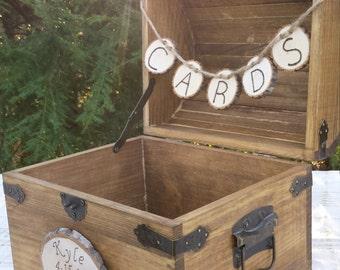 Card Box, Wedding Card Box, Wood Card Box, Rustic Wedding, Large Card Box, Personalized Card Trunk, Personalized Wood Slice