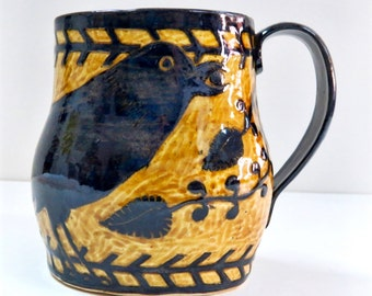 In Stock! 16 oz RAVEN MUG SGRAFFITO Crow Bird - Coffee Tea Cup Mug - Detailed Borders Handle Vines - Customize Colors - Ceramic