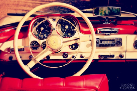 Vintage Car Photo, Mercedes Benz Interior, Red and White, Old Automobile, Fine Art Print, Dashboard, Wheel, Gift for Men, Man Cave, Classic