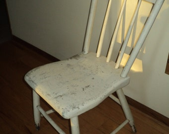 Antique Rustic Primitive Style  Solid Wooden Chair in original white painted finish with  well aged patina, 4 Pick up or Delivery Only